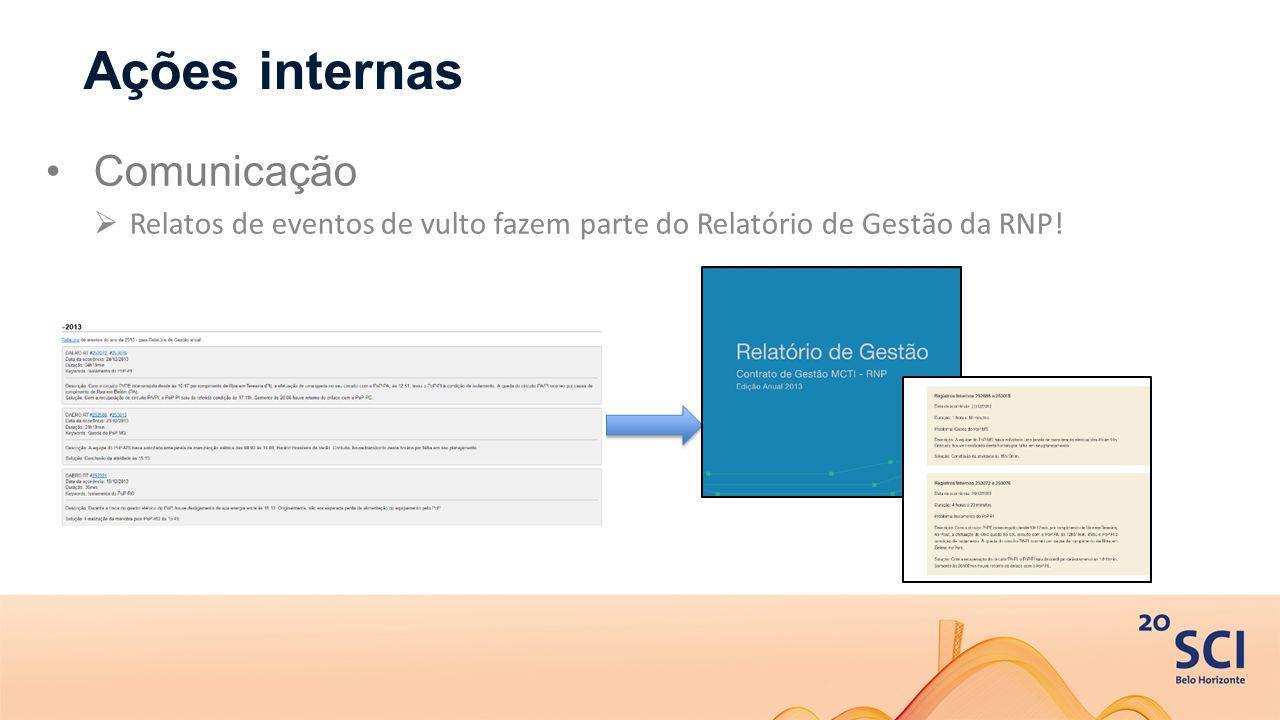 Ações internas Comunicação  Relatos de eventos de vulto fazem parte do Relatório de Gestão da RNP!