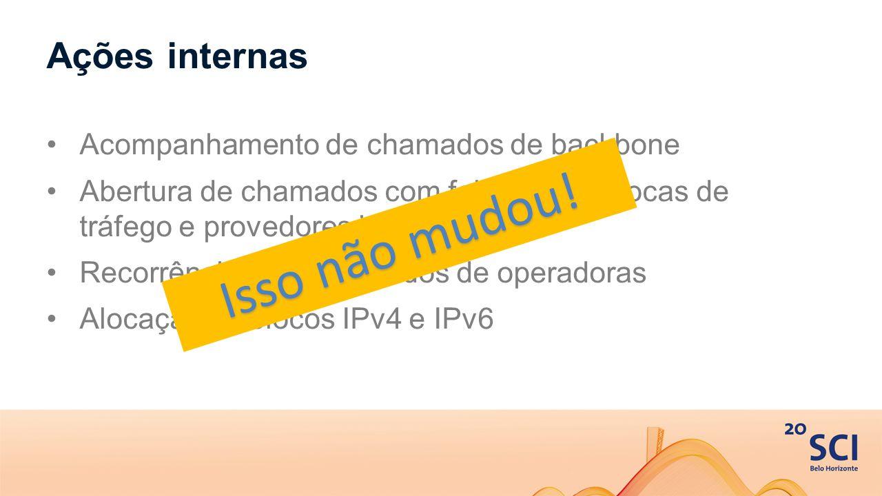 Ações internas Acompanhamento de chamados de backbone Abertura de chamados com fabricantes, trocas de tráfego e provedores internacionais Recorrência para chamados de operadoras Alocação de blocos IPv4 e IPv6 Isso não mudou!