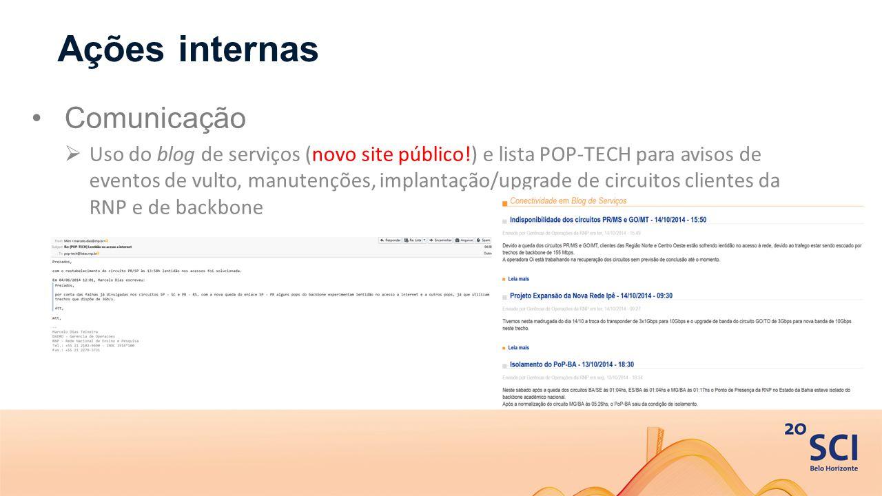 Ações internas Comunicação  Uso do blog de serviços (novo site público!) e lista POP-TECH para avisos de eventos de vulto, manutenções, implantação/upgrade de circuitos clientes da RNP e de backbone