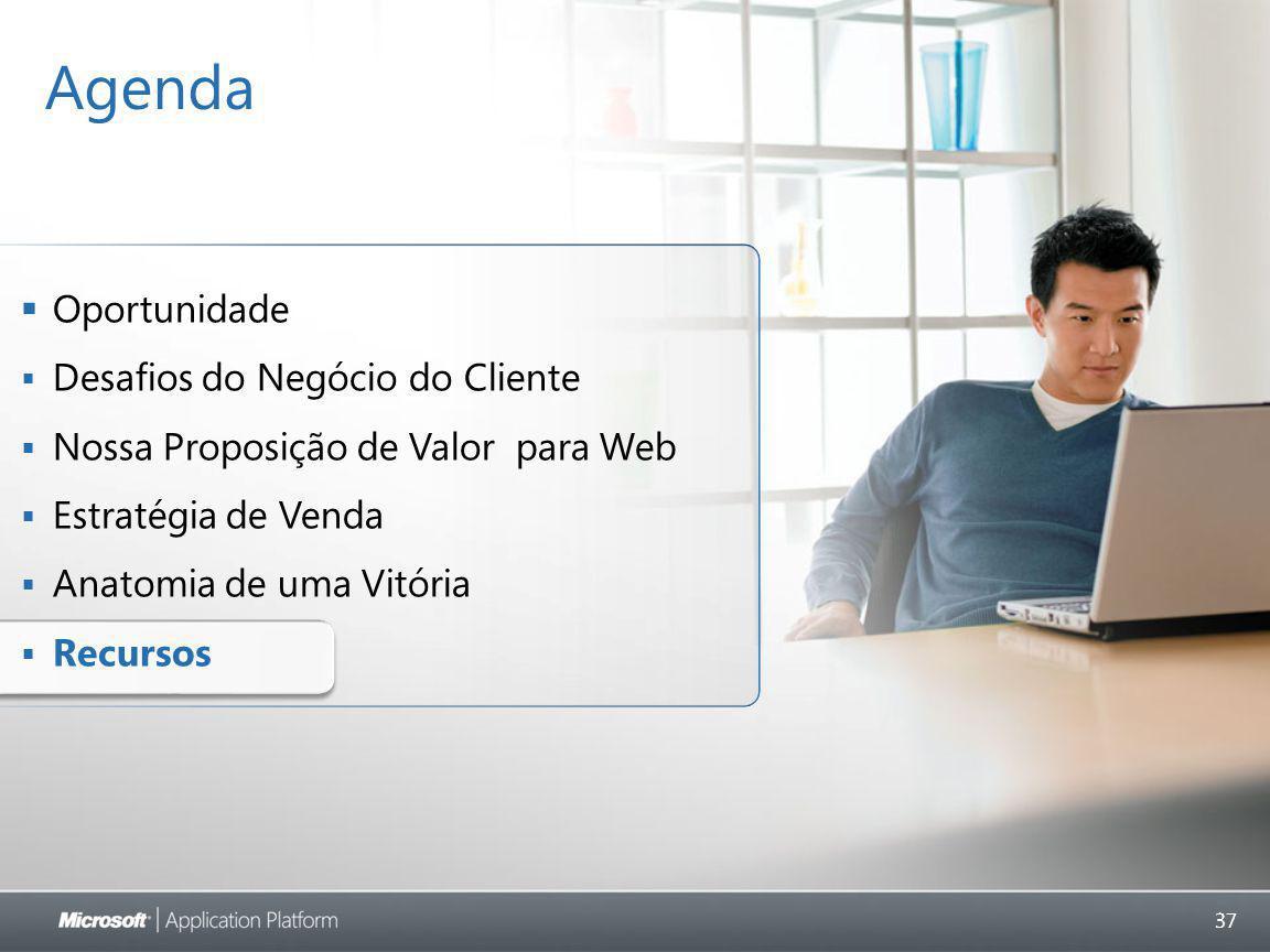 37 Agenda  Oportunidade  Desafios do Negócio do Cliente  Nossa Proposição de Valor para Web  Estratégia de Venda  Anatomia de uma Vitória  Recursos