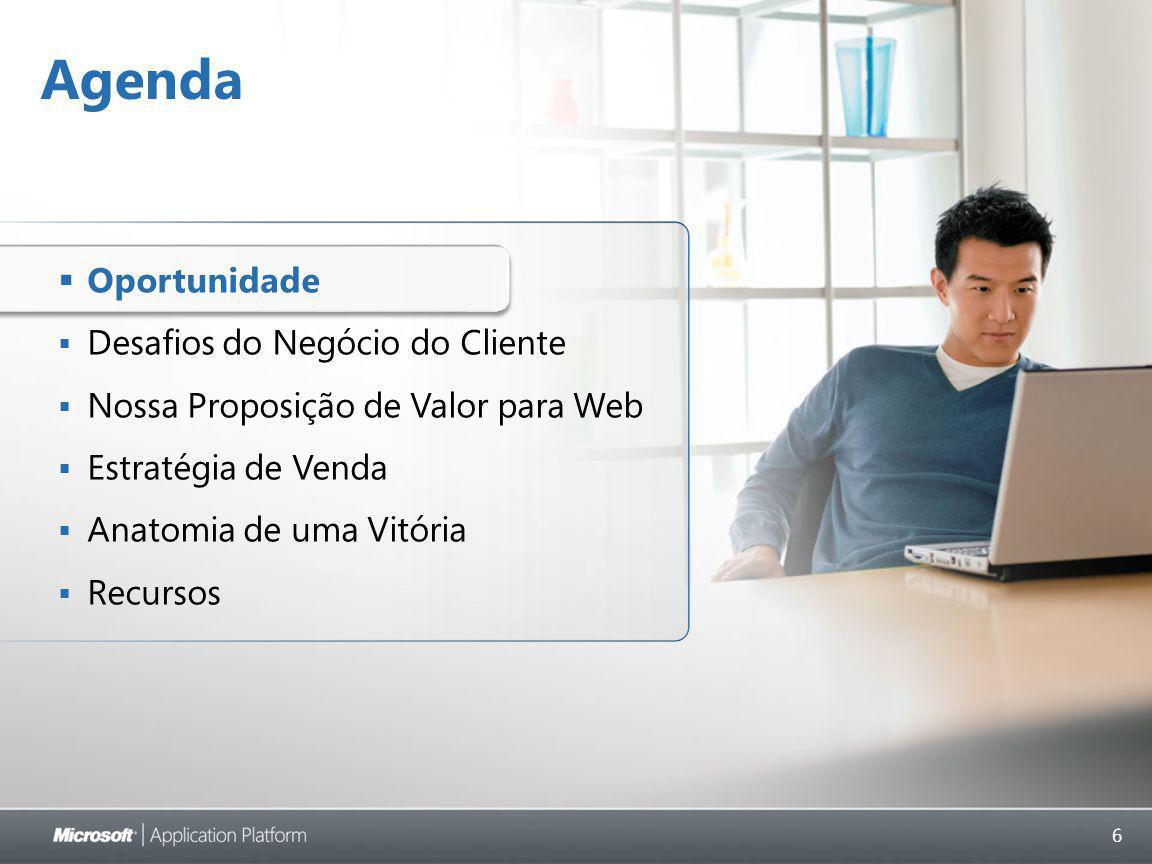6 Agenda  Oportunidade  Desafios do Negócio do Cliente  Nossa Proposição de Valor para Web  Estratégia de Venda  Anatomia de uma Vitória  Recursos