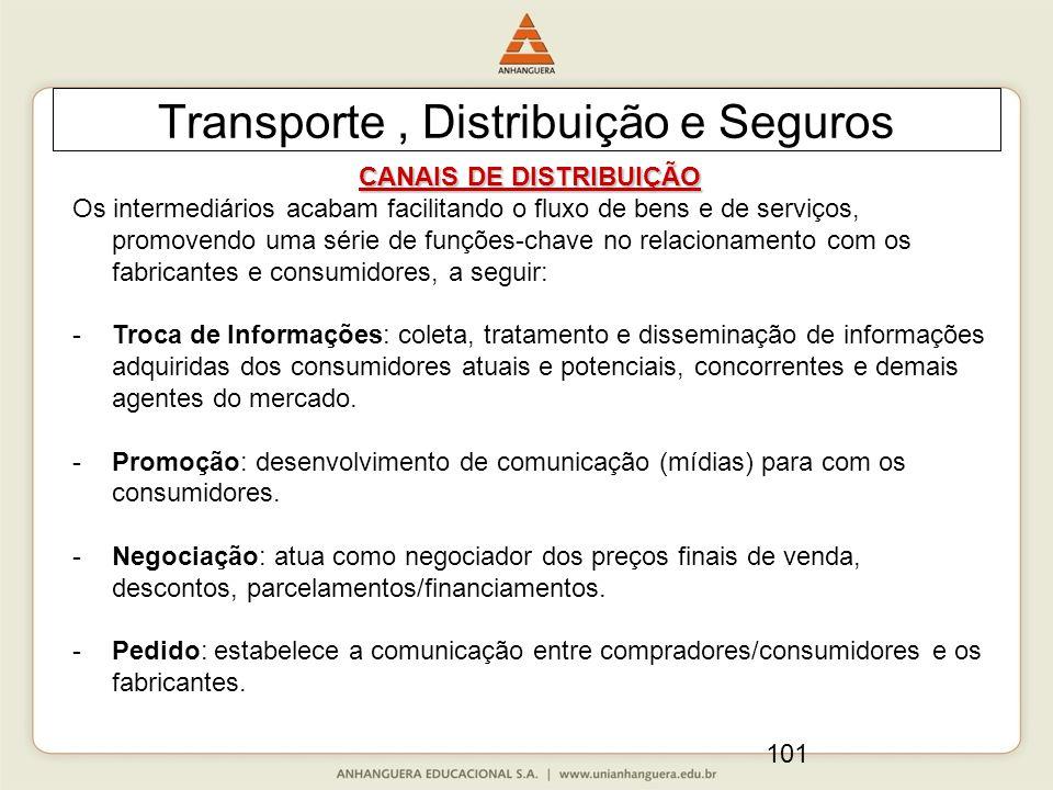 101 Transporte, Distribuição e Seguros CANAIS DE DISTRIBUIÇÃO Os intermediários acabam facilitando o fluxo de bens e de serviços, promovendo uma série