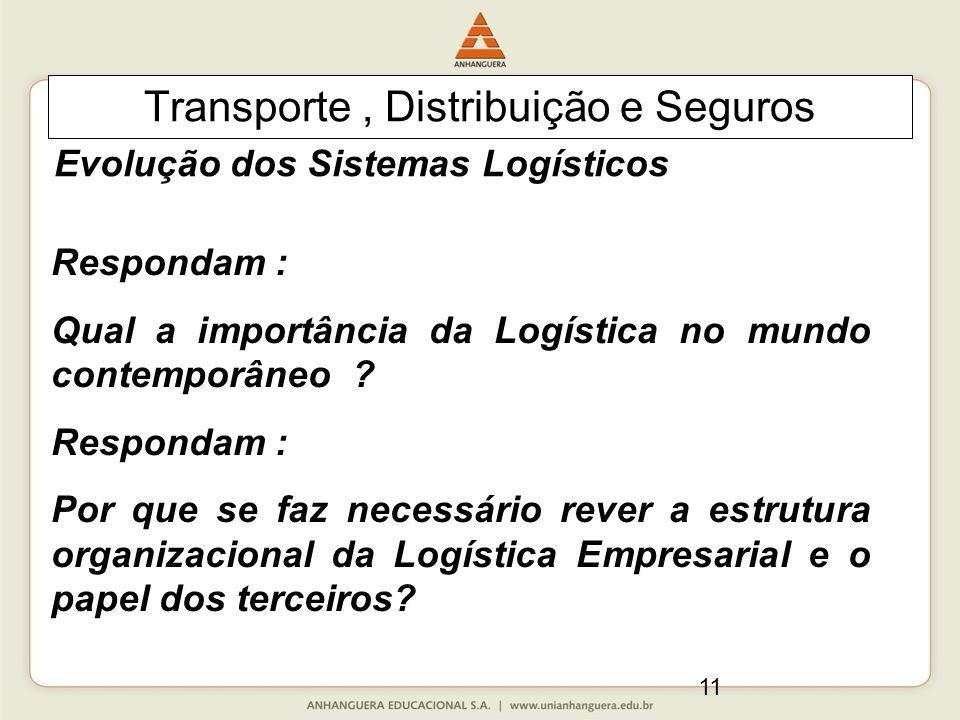 11 Transporte, Distribuição e Seguros Respondam : Qual a importância da Logística no mundo contemporâneo ? Respondam : Por que se faz necessário rever