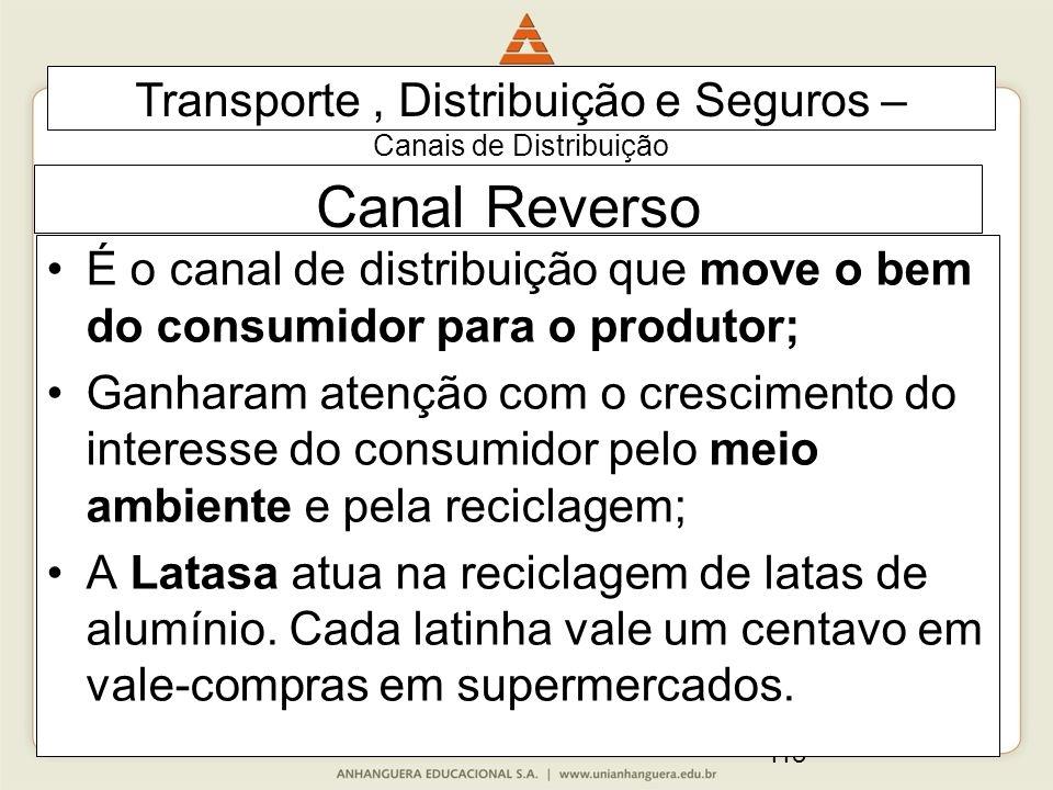 113 Canal Reverso É o canal de distribuição que move o bem do consumidor para o produtor; Ganharam atenção com o crescimento do interesse do consumido