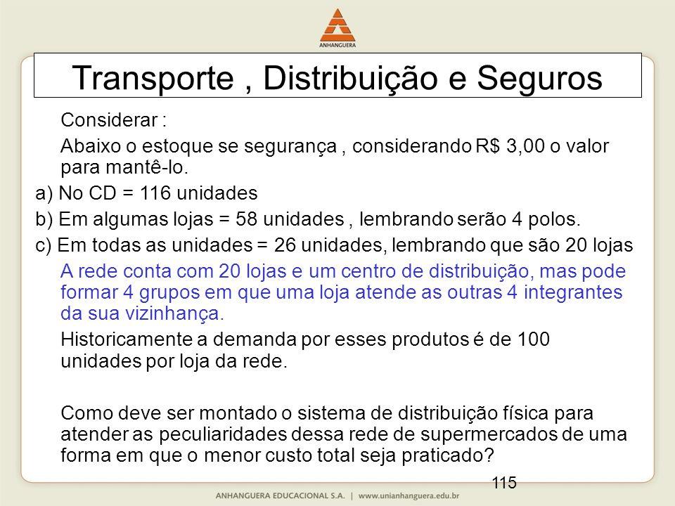 115 Transporte, Distribuição e Seguros Considerar : Abaixo o estoque se segurança, considerando R$ 3,00 o valor para mantê-lo. a) No CD = 116 unidades