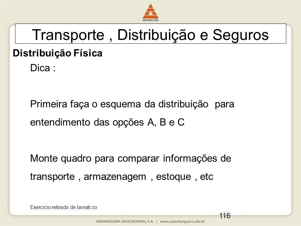116 Transporte, Distribuição e Seguros Dica : Primeira faça o esquema da distribuição para entendimento das opções A, B e C Monte quadro para comparar