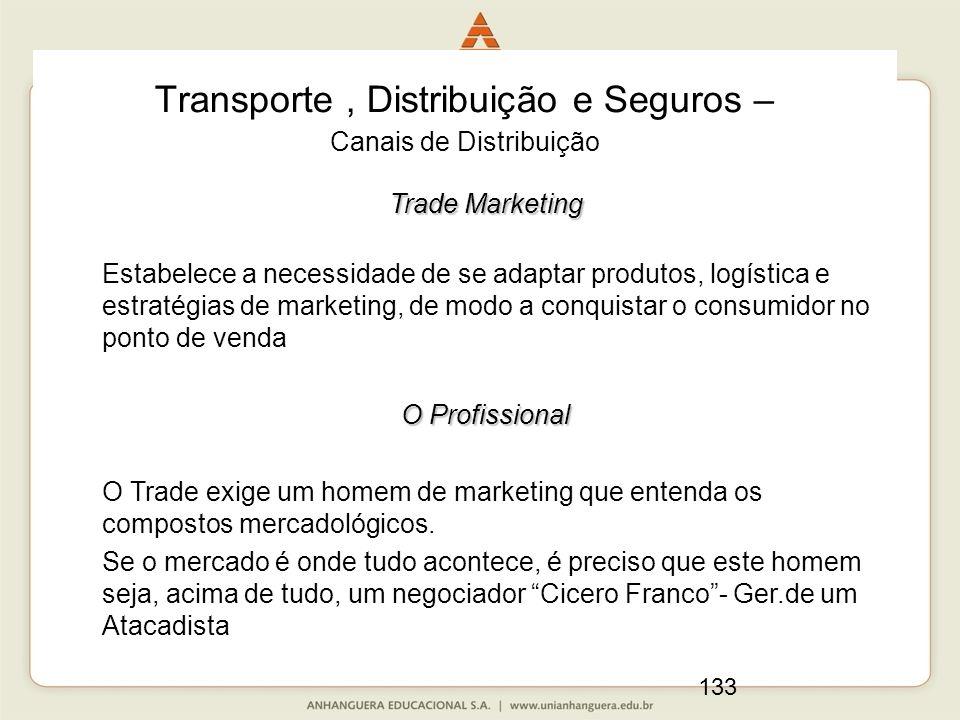 133 Transporte, Distribuição e Seguros – Canais de Distribuição Trade Marketing Estabelece a necessidade de se adaptar produtos, logística e estratégi