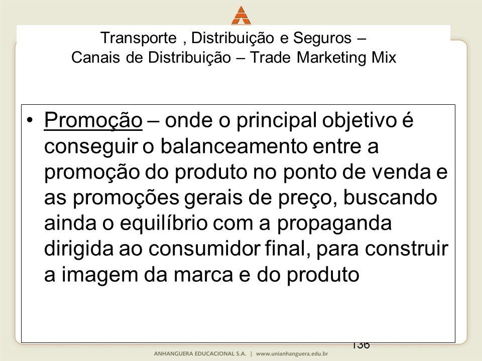 136 Promoção – onde o principal objetivo é conseguir o balanceamento entre a promoção do produto no ponto de venda e as promoções gerais de preço, bus