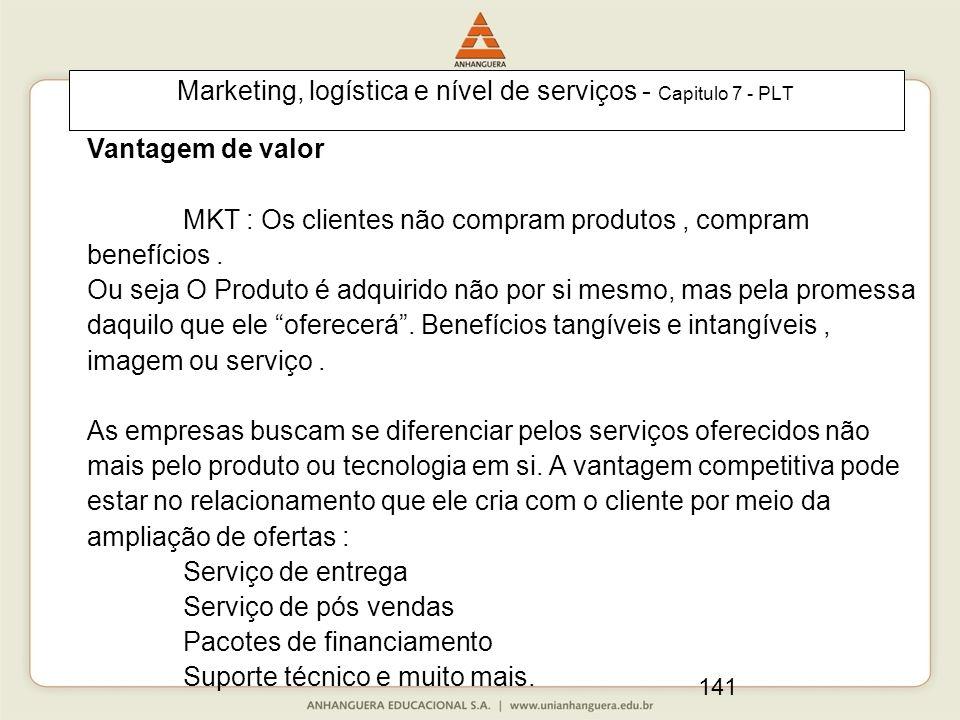 141 Marketing, logística e nível de serviços - Capitulo 7 - PLT Vantagem de valor MKT : Os clientes não compram produtos, compram benefícios. Ou seja