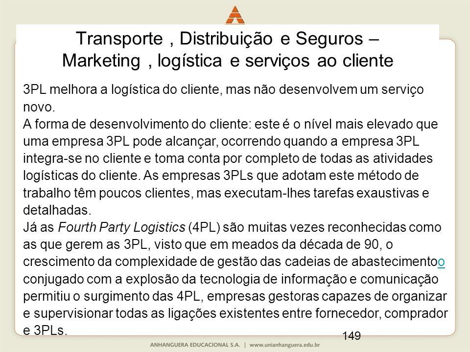 149 Transporte, Distribuição e Seguros – Marketing, logística e serviços ao cliente 3PL melhora a logística do cliente, mas não desenvolvem um serviço