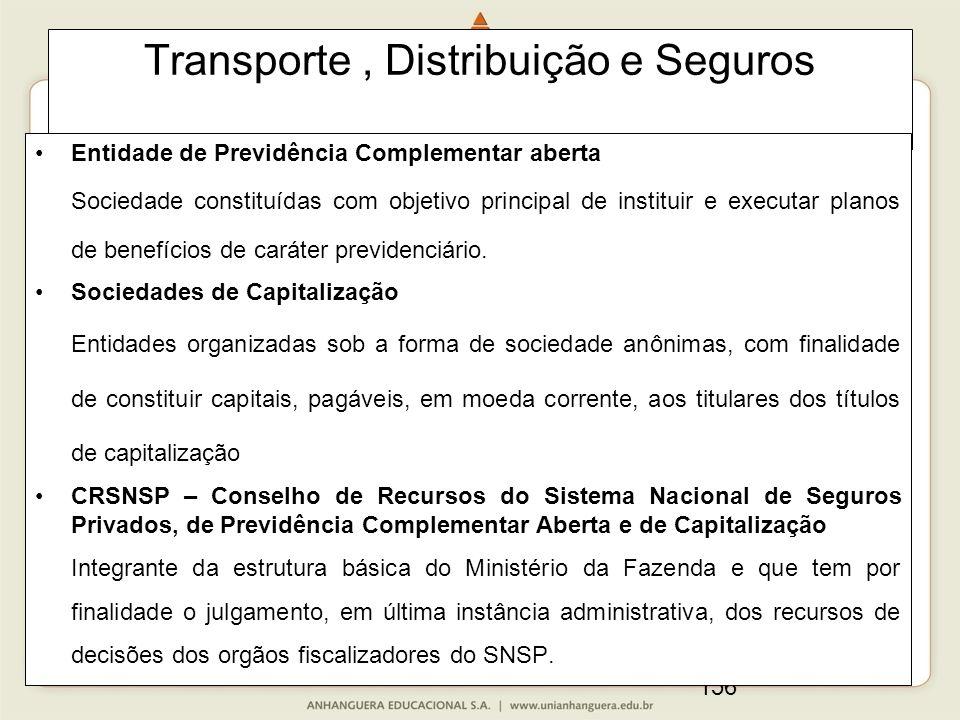 156 Transporte, Distribuição e Seguros Entidade de Previdência Complementar aberta Sociedade constituídas com objetivo principal de instituir e execut