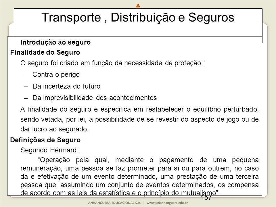 157 Transporte, Distribuição e Seguros Introdução ao seguro Finalidade do Seguro O seguro foi criado em função da necessidade de proteção : –Contra o