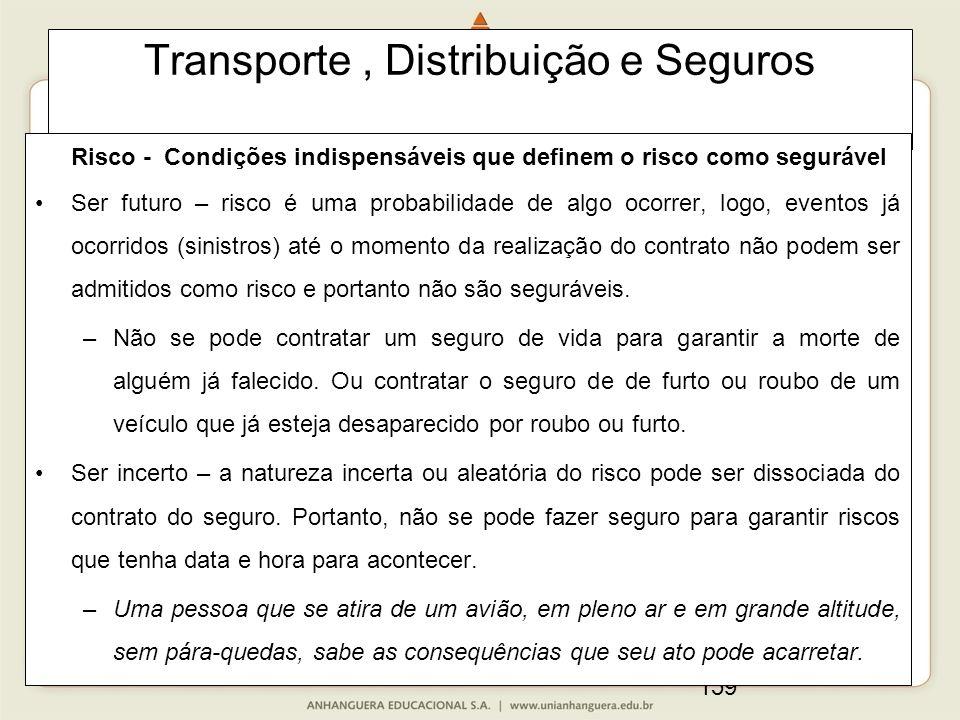 159 Transporte, Distribuição e Seguros Risco - Condições indispensáveis que definem o risco como segurável Ser futuro – risco é uma probabilidade de a