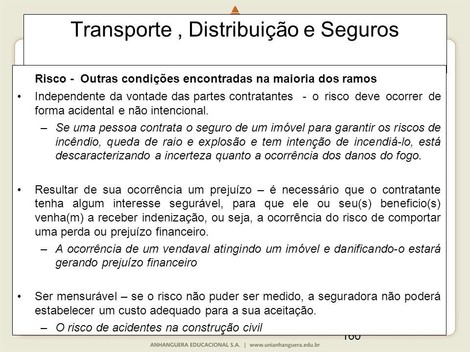 160 Transporte, Distribuição e Seguros Risco - Outras condições encontradas na maioria dos ramos Independente da vontade das partes contratantes - o risco deve ocorrer de forma acidental e não intencional.