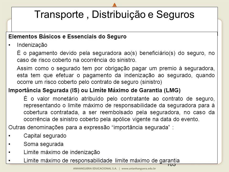 163 Transporte, Distribuição e Seguros Elementos Básicos e Essenciais do Seguro Indenização É o pagamento devido pela seguradora ao(s) beneficiário(s) do seguro, no caso de risco coberto na ocorrência do sinistro.