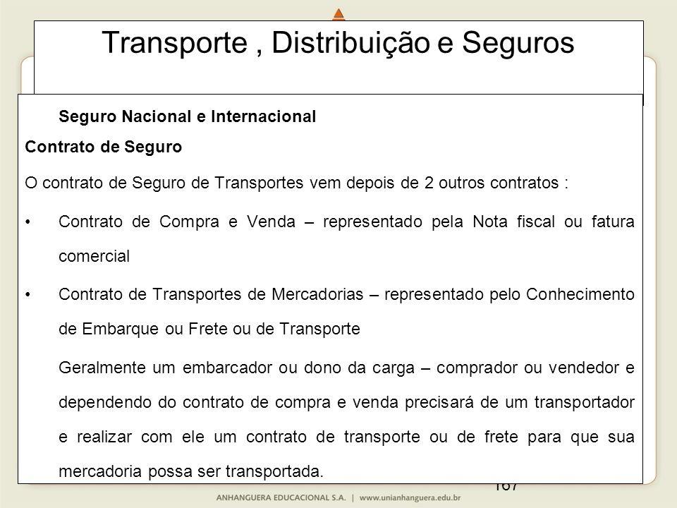 167 Transporte, Distribuição e Seguros Seguro Nacional e Internacional Contrato de Seguro O contrato de Seguro de Transportes vem depois de 2 outros c