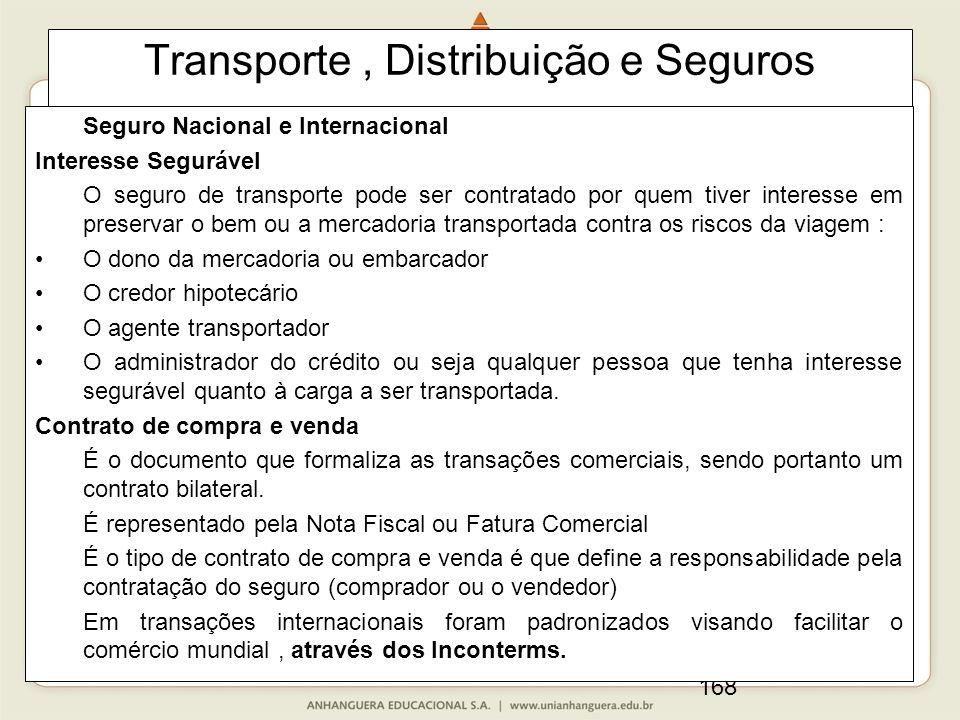 168 Transporte, Distribuição e Seguros Seguro Nacional e Internacional Interesse Segurável O seguro de transporte pode ser contratado por quem tiver i
