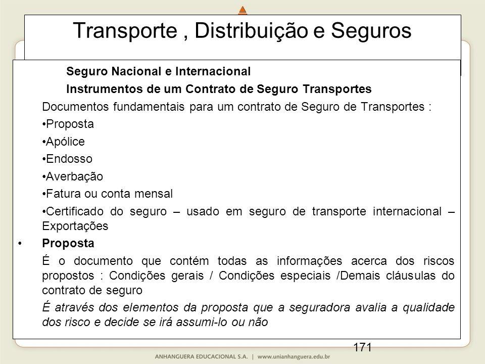 171 Transporte, Distribuição e Seguros Seguro Nacional e Internacional Instrumentos de um Contrato de Seguro Transportes Documentos fundamentais para