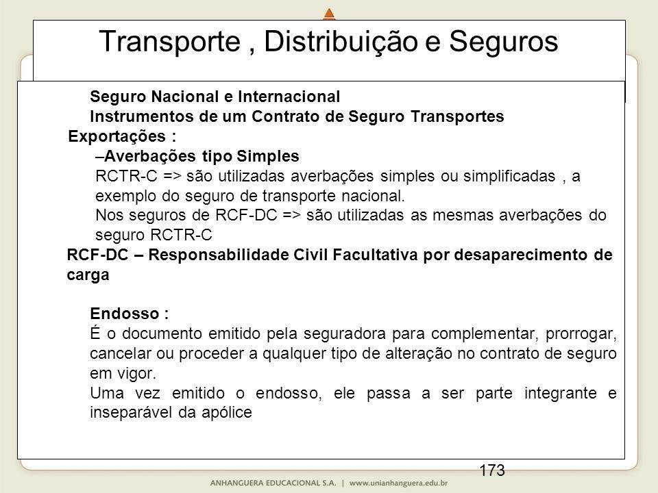 173 Transporte, Distribuição e Seguros Seguro Nacional e Internacional Instrumentos de um Contrato de Seguro Transportes Exportações : –Averbações tipo Simples RCTR-C => são utilizadas averbações simples ou simplificadas, a exemplo do seguro de transporte nacional.