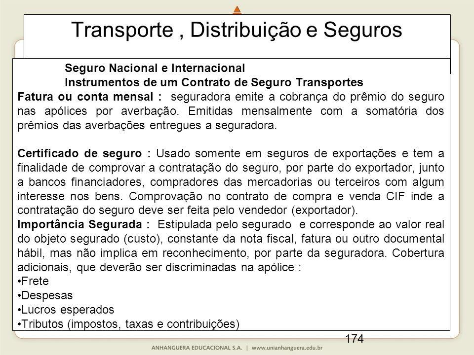 174 Transporte, Distribuição e Seguros Seguro Nacional e Internacional Instrumentos de um Contrato de Seguro Transportes Fatura ou conta mensal : seguradora emite a cobrança do prêmio do seguro nas apólices por averbação.