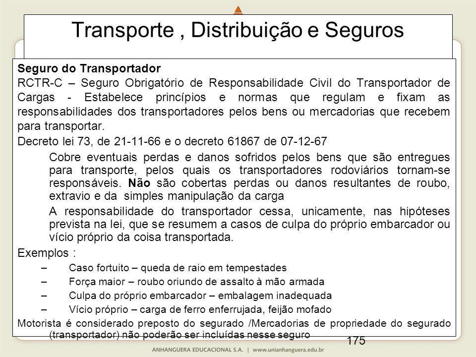 175 Transporte, Distribuição e Seguros Seguro do Transportador RCTR-C – Seguro Obrigatório de Responsabilidade Civil do Transportador de Cargas - Esta
