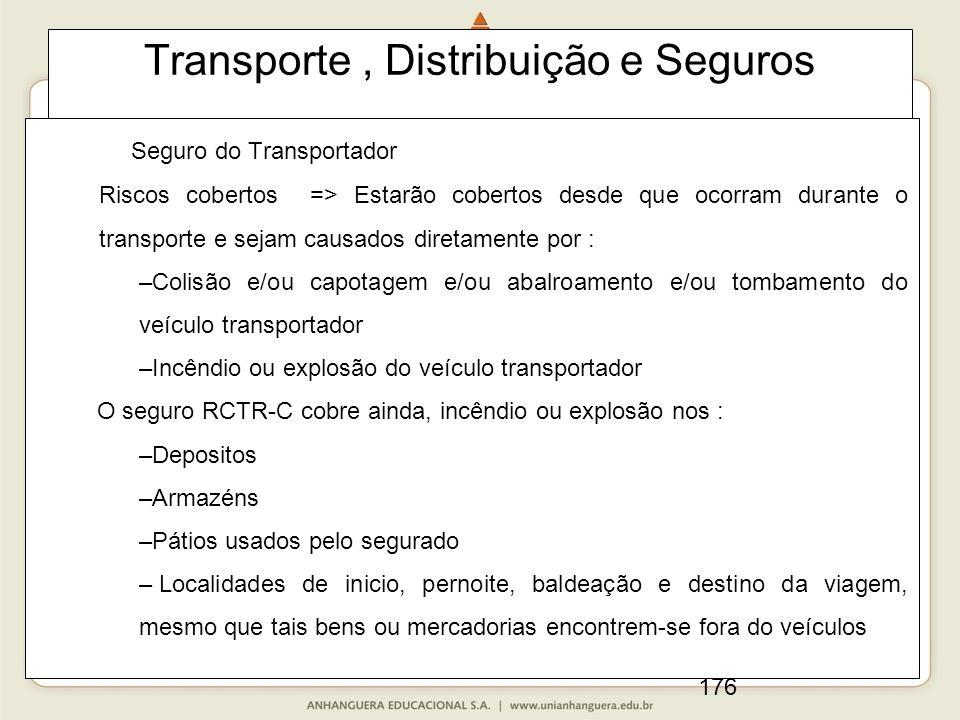 176 Transporte, Distribuição e Seguros Seguro do Transportador Riscos cobertos => Estarão cobertos desde que ocorram durante o transporte e sejam caus