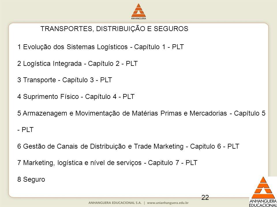 22 TRANSPORTES, DISTRIBUIÇÃO E SEGUROS 1 Evolução dos Sistemas Logísticos - Capítulo 1 - PLT 2 Logística Integrada - Capítulo 2 - PLT 3 Transporte - C