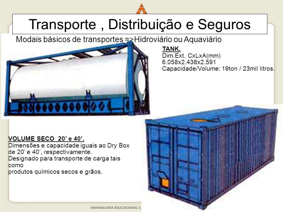 34 TANK. Dim.Ext. CxLxA(mm) 6.058x2.438x2.591 Capacidade/Volume: 19ton / 23mil litros. VOLUME SECO 20' e 40'. Dimensões e capacidade iguais ao Dry Box