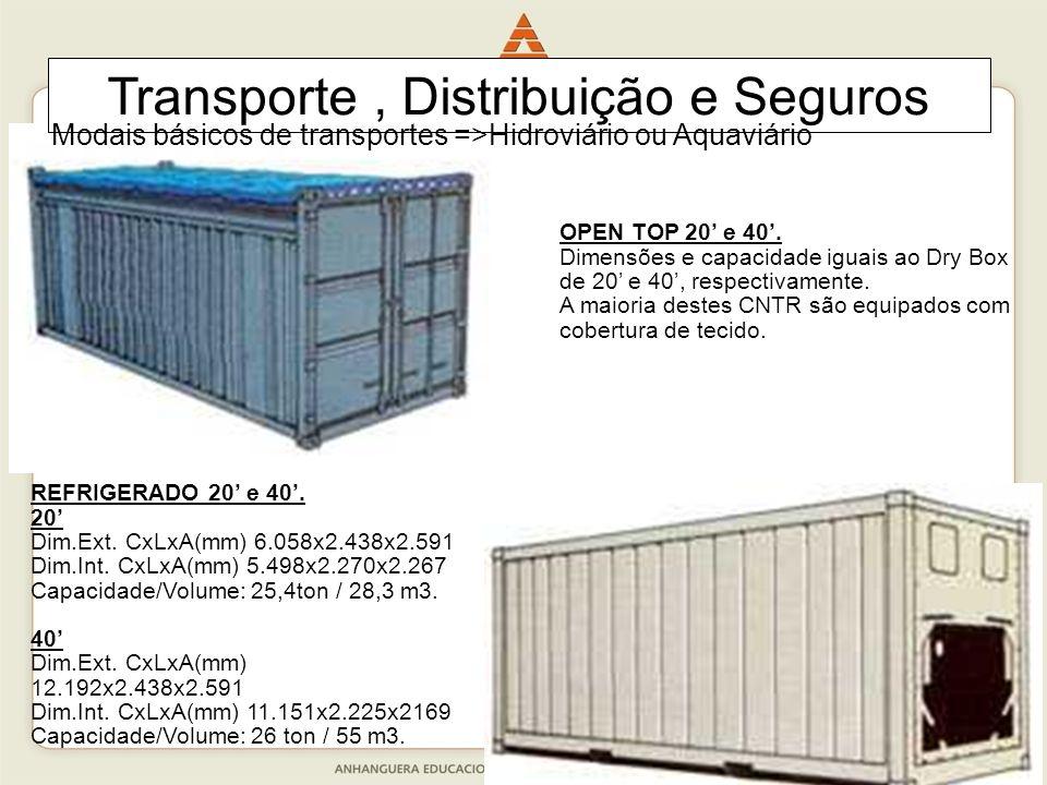 35 OPEN TOP 20' e 40'. Dimensões e capacidade iguais ao Dry Box de 20' e 40', respectivamente. A maioria destes CNTR são equipados com cobertura de te