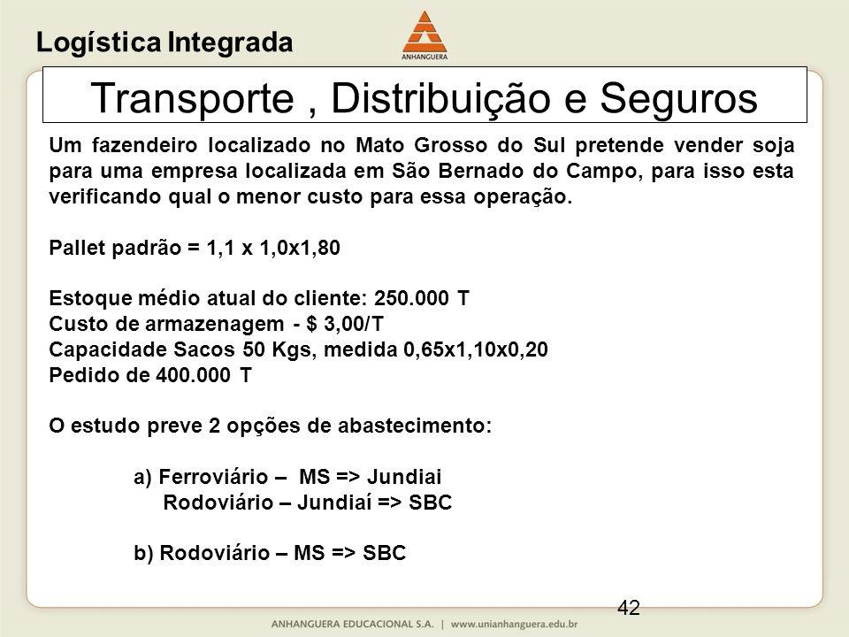 42 Transporte, Distribuição e Seguros Um fazendeiro localizado no Mato Grosso do Sul pretende vender soja para uma empresa localizada em São Bernado do Campo, para isso esta verificando qual o menor custo para essa operação.