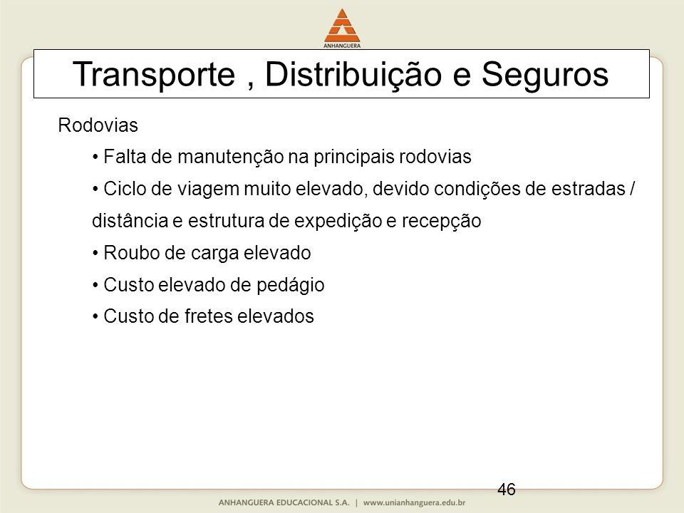 46 Transporte, Distribuição e Seguros Rodovias Falta de manutenção na principais rodovias Ciclo de viagem muito elevado, devido condições de estradas
