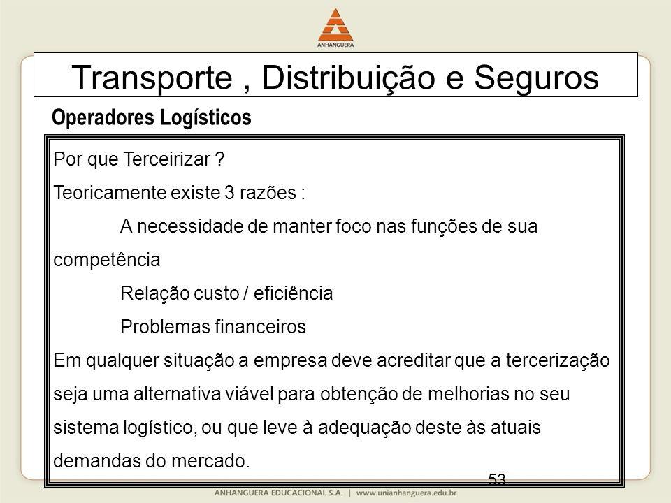 53 Transporte, Distribuição e Seguros Operadores Logísticos Por que Terceirizar ? Teoricamente existe 3 razões : A necessidade de manter foco nas funç