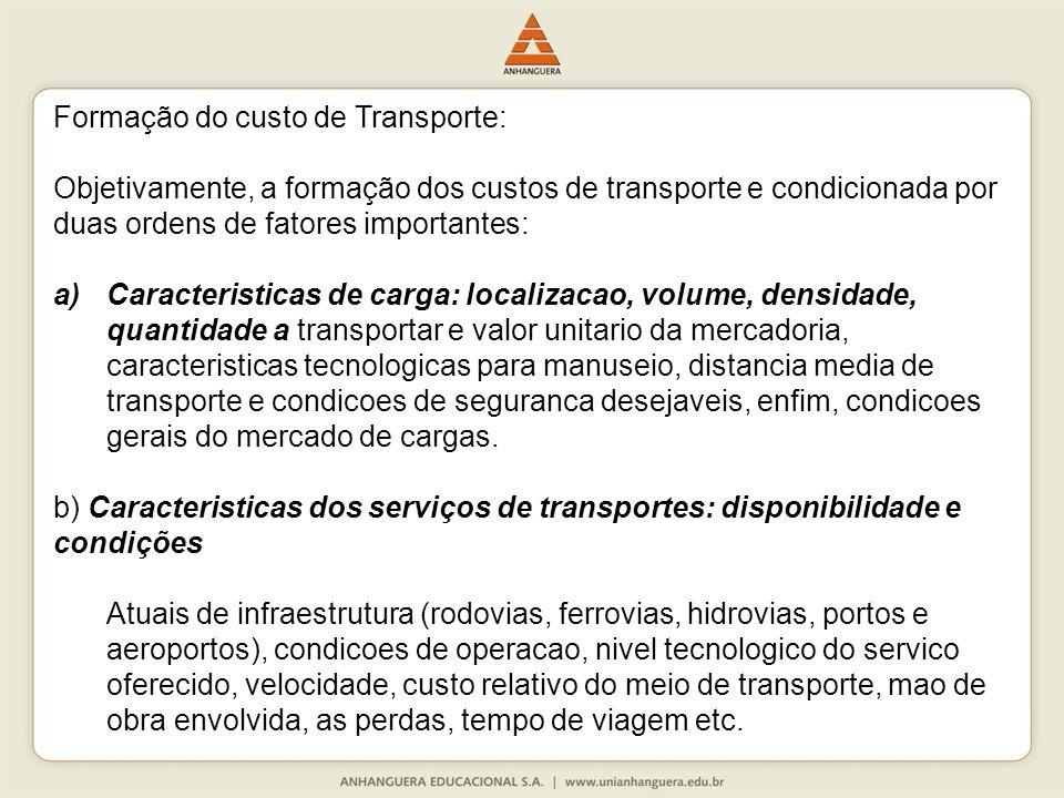 Formação do custo de Transporte: Objetivamente, a formação dos custos de transporte e condicionada por duas ordens de fatores importantes: a)Caracteri
