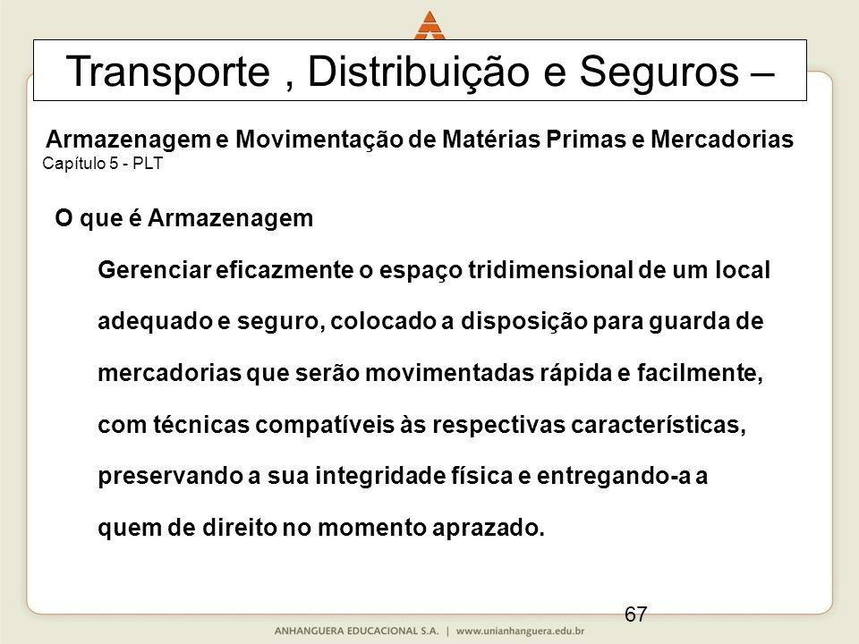67 Transporte, Distribuição e Seguros – Armazenagem e Movimentação de Matérias Primas e Mercadorias Capítulo 5 - PLT O que é Armazenagem Gerenciar efi