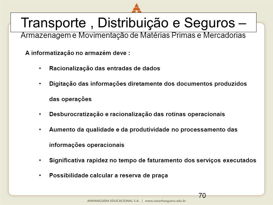 70 A informatização no armazém deve : Racionalização das entradas de dados Digitação das informações diretamente dos documentos produzidos das operaçõ