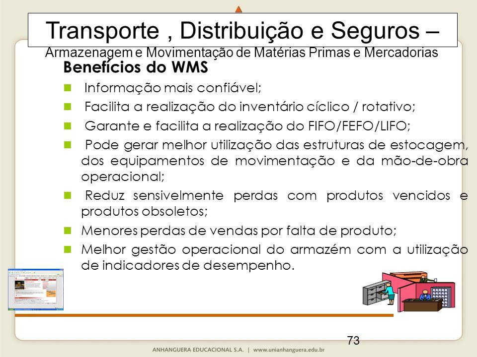 73 Benefícios do WMS Informação mais confiável; Facilita a realização do inventário cíclico / rotativo; Garante e facilita a realização do FIFO/FEFO/L