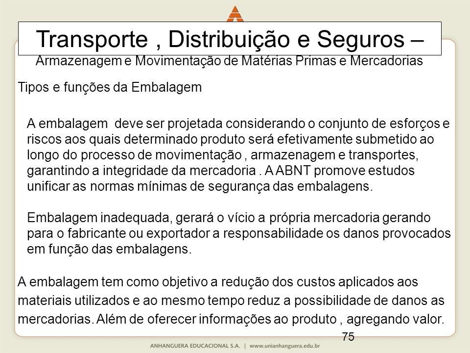 75 Transporte, Distribuição e Seguros – Armazenagem e Movimentação de Matérias Primas e Mercadorias Tipos e funções da Embalagem A embalagem deve ser