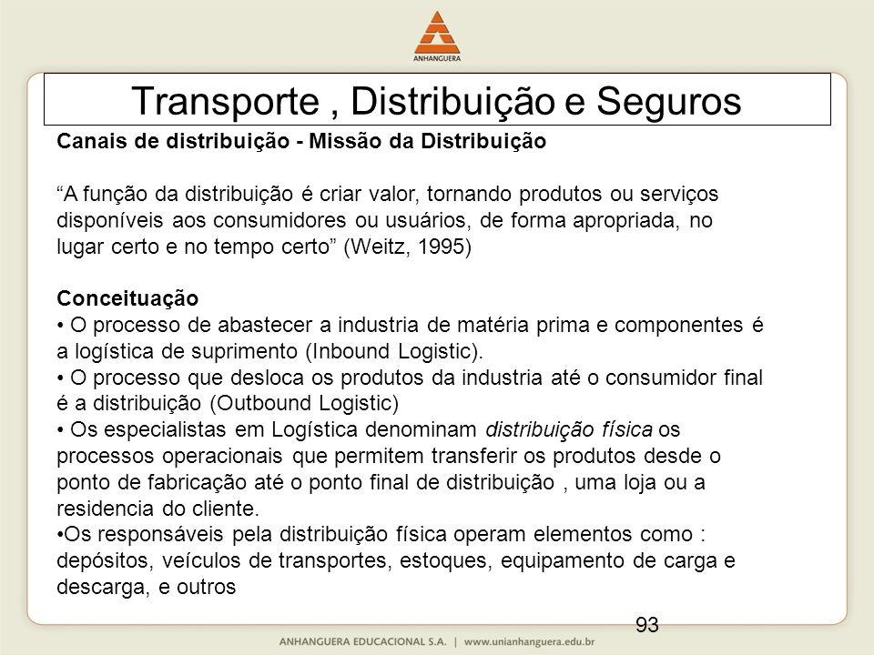 """93 Transporte, Distribuição e Seguros Canais de distribuição - Missão da Distribuição """"A função da distribuição é criar valor, tornando produtos ou se"""