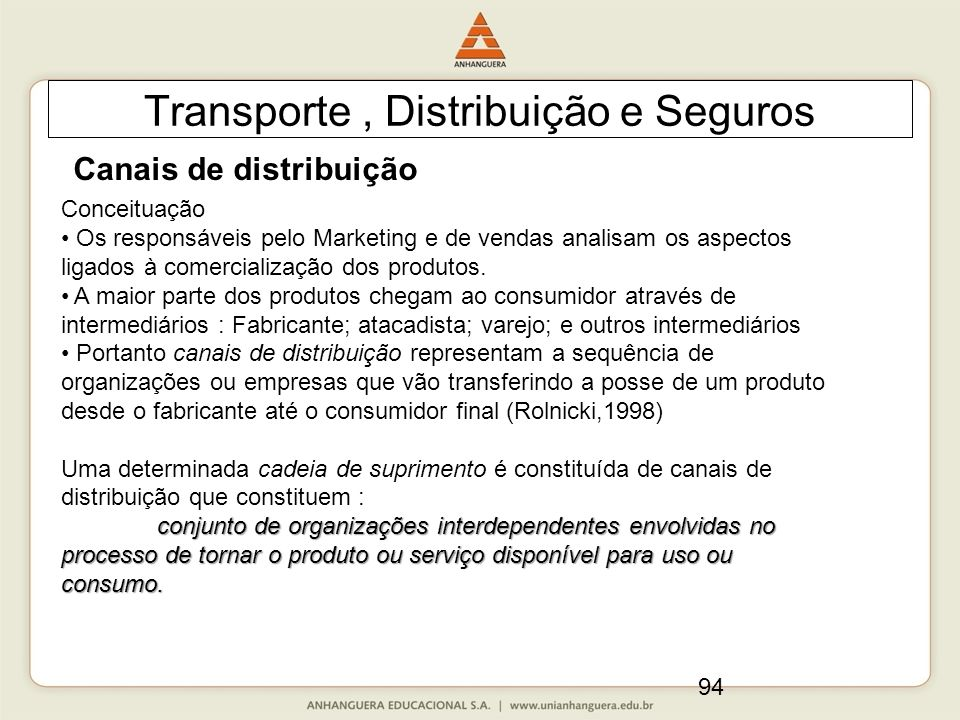 94 Transporte, Distribuição e Seguros Canais de distribuição Conceituação Os responsáveis pelo Marketing e de vendas analisam os aspectos ligados à comercialização dos produtos.