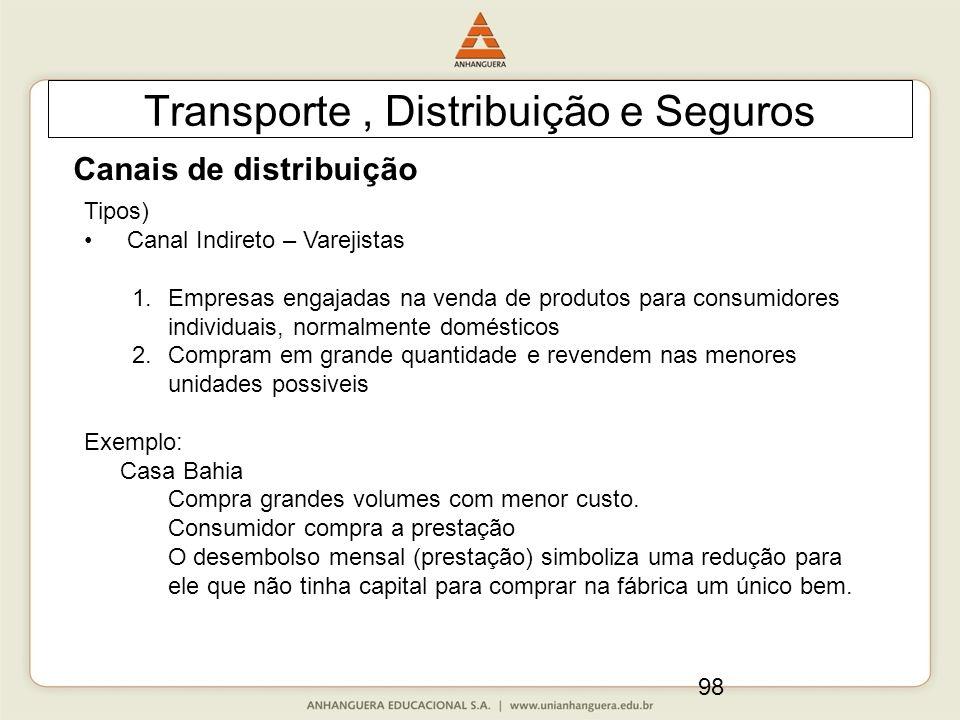 98 Transporte, Distribuição e Seguros Canais de distribuição Tipos) Canal Indireto – Varejistas 1.Empresas engajadas na venda de produtos para consumi
