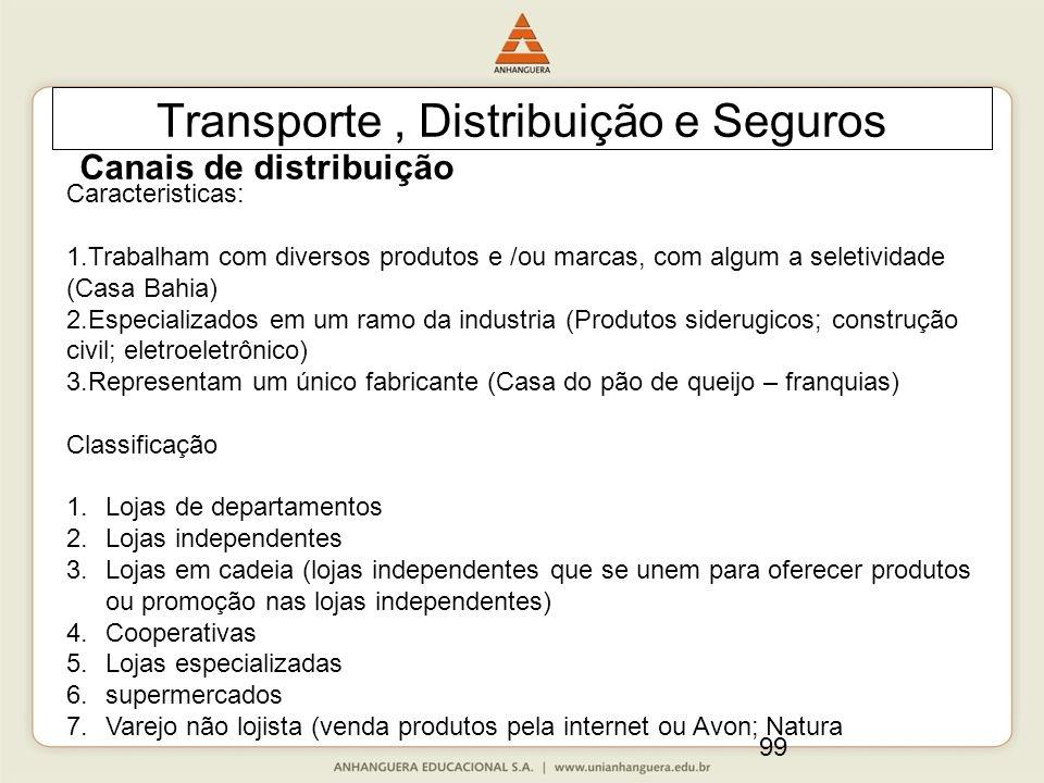 99 Transporte, Distribuição e Seguros Canais de distribuição Caracteristicas: 1.Trabalham com diversos produtos e /ou marcas, com algum a seletividade