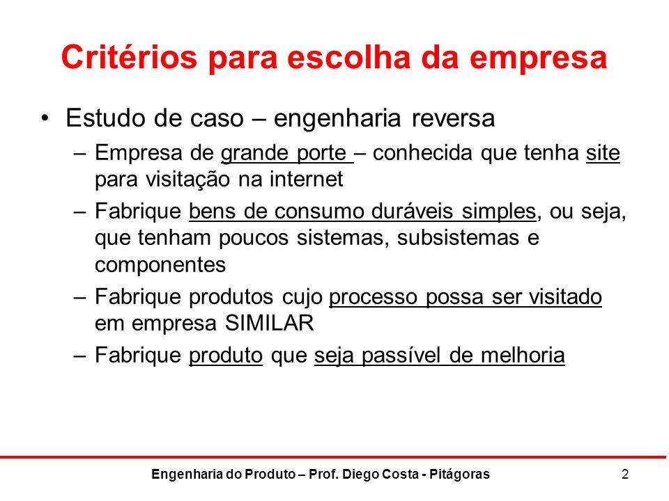 Critérios para escolha da empresa Estudo de caso – engenharia reversa –Empresa de grande porte – conhecida que tenha site para visitação na internet –
