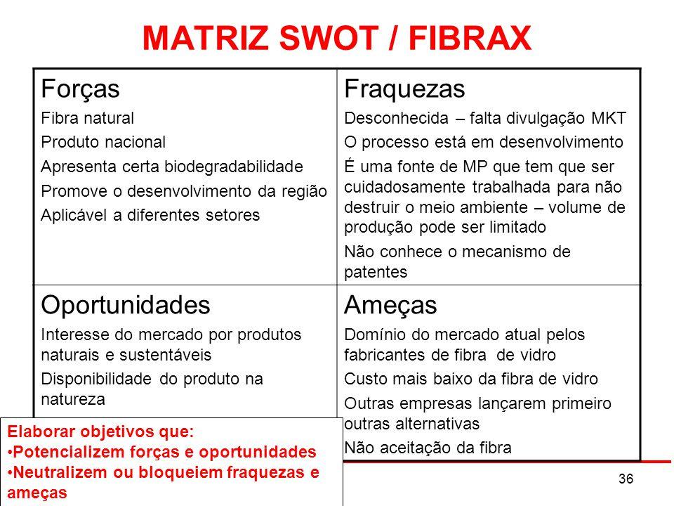 MATRIZ SWOT / FIBRAX Forças Fibra natural Produto nacional Apresenta certa biodegradabilidade Promove o desenvolvimento da região Aplicável a diferent
