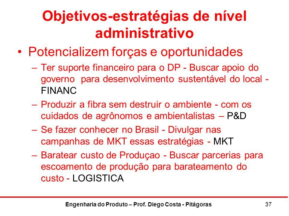 Objetivos-estratégias de nível administrativo Potencializem forças e oportunidades –Ter suporte financeiro para o DP - Buscar apoio do governo para de