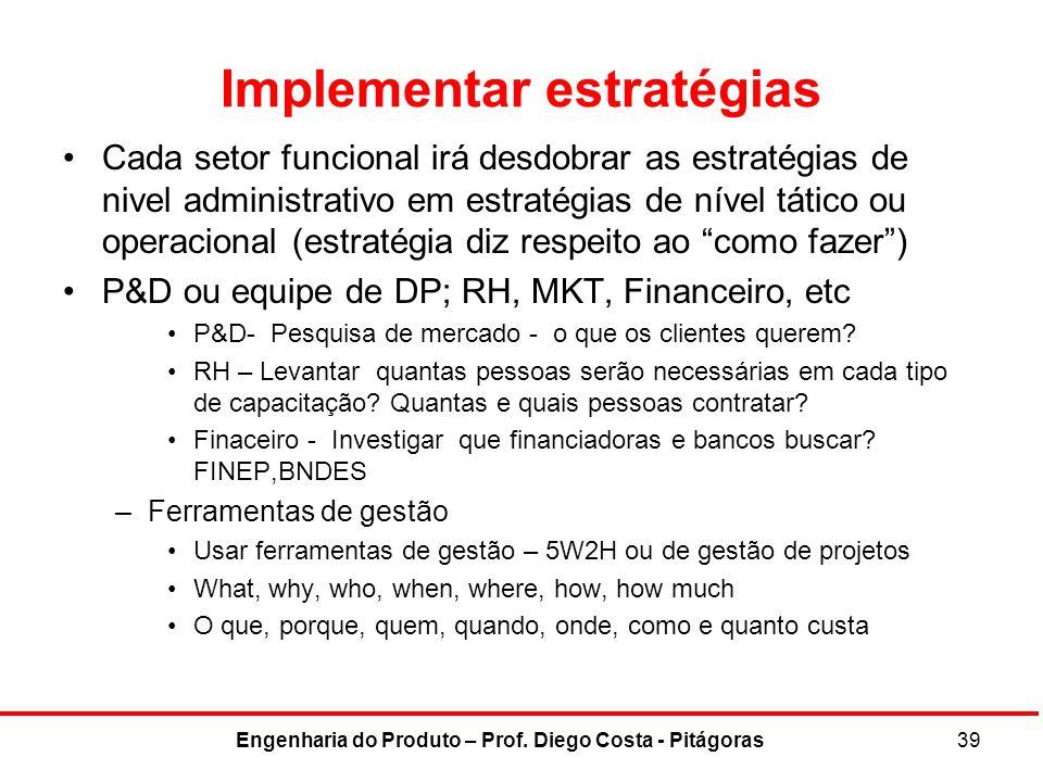 Implementar estratégias Cada setor funcional irá desdobrar as estratégias de nivel administrativo em estratégias de nível tático ou operacional (estra