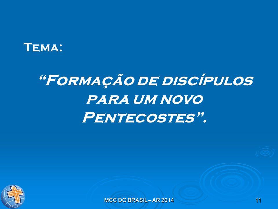MCC DO BRASIL – AR 201411 Tema: Formação de discípulos para um novo Pentecostes .