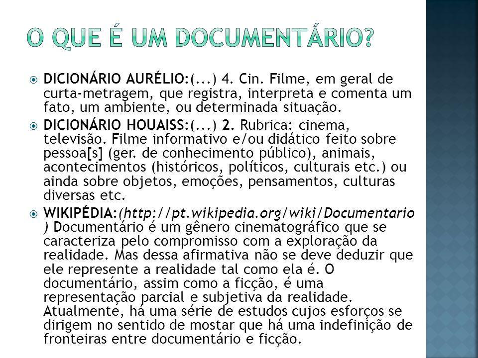  DICIONÁRIO AURÉLIO:(...) 4. Cin. Filme, em geral de curta-metragem, que registra, interpreta e comenta um fato, um ambiente, ou determinada situação