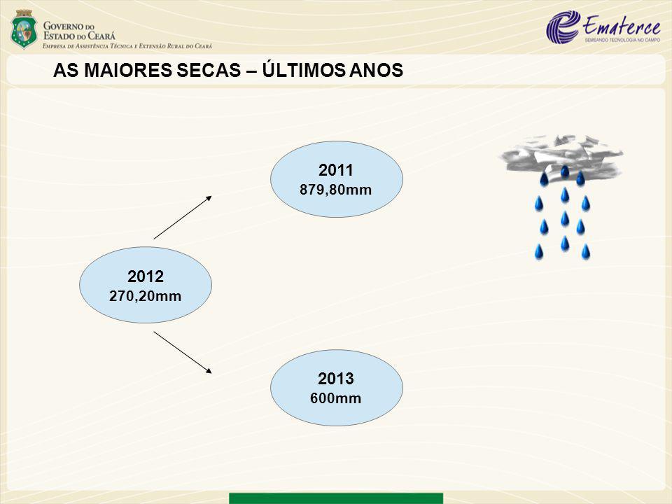 AS MAIORES SECAS – ÚLTIMOS ANOS 2012 270,20mm 2011 879,80mm 2013 600mm