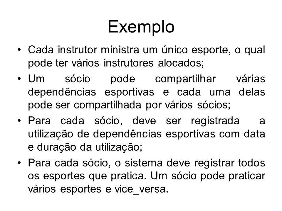 Exemplo Cada instrutor ministra um único esporte, o qual pode ter vários instrutores alocados; Um sócio pode compartilhar várias dependências esportiv