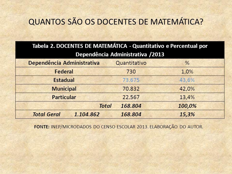 QUANTOS SÃO OS DOCENTES DE MATEMÁTICA. Tabela 2.